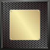 stock photo of plaque  - golden plaque on dark textured background  - JPG