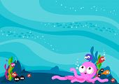 foto of blue animal  - Vector Illustration of an underwater sea animals background full of colorful sea creatures - JPG
