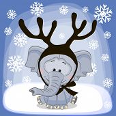 image of antlers  - Christmas illustration of cartoon Elephant with antlers - JPG
