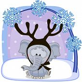 picture of antlers  - Christmas illustration of cartoon Elephant with antlers - JPG