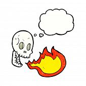 picture of fire-breathing  - cartoon fire breathing skull with thought bubble - JPG