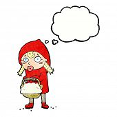 image of little red riding hood  - little red riding hood cartoon with thought bubble - JPG