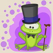 picture of cute frog  - Greeting card Cute Frog in a hat - JPG