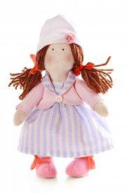 pic of rag-doll  - Handmade doll isolated on white - JPG