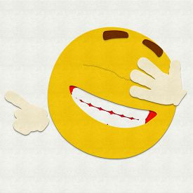 image of emoticon  - Felt illustration of an emoticon laughing out loud - JPG