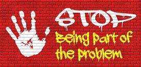 picture of take responsibility  - stop being part of the problem find a solution time for action help now take responsibility raise awareness graffiti on red brick wall - JPG