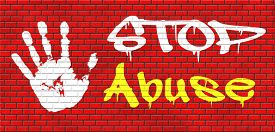 image of animal cruelty  - stop abuse child protection prevention from domestic violence and neglection end abusing children graffiti on red brick wall - JPG
