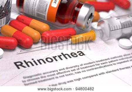 Rhinorrhea Diagnosis. Medical Concept.