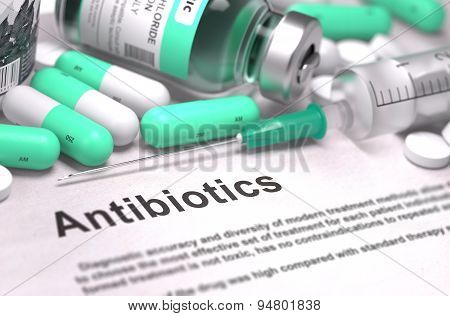 Antibiotics. Medical Concept with Blured Background.