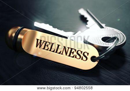 Wellness written on Golden Keyring.