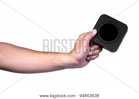 Hand Holding Square Black Box
