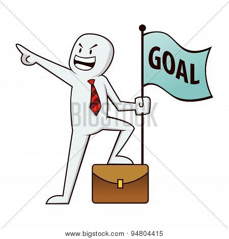 Businessman Aiming At Goals