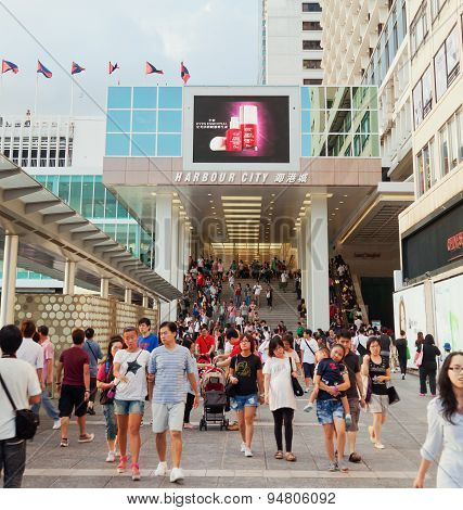 Shoppers outside Harbour City, a shopping mall in Hong Kong