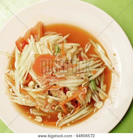 Thai Food, Papaya Salad Or Som-tam