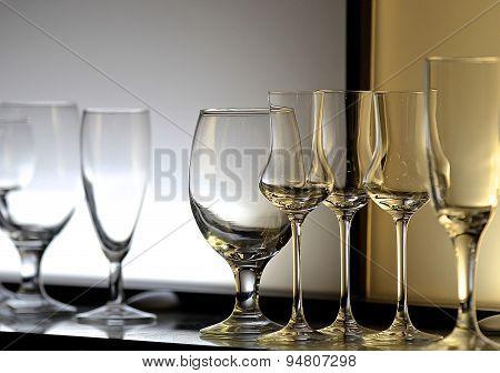 Unusual Lighting Glasses Of Wine
