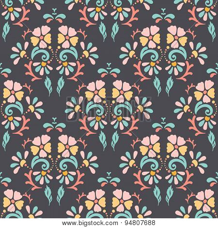 Seamless Retro Pattern Of Different Colored Flowers