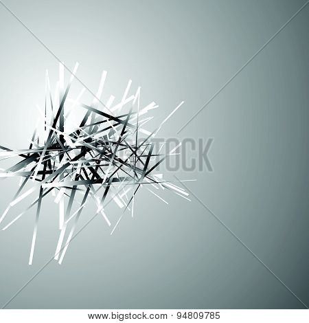Artistic Abstract Vector. Random Overlapping Lines, Stripes, Scattered Rectangles.