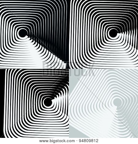 Artistic Abstract Vector. Random Rounded Squares Background. Set Of 4 Versions.