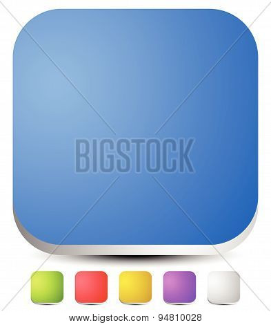 3D Rounded Squares. Empty Icon, Button Backgrounds. Set Of 6 Colors: Blue, Green, Red, Yellow, Purpl