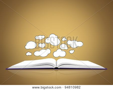 Open book with clouds