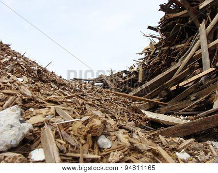 Wave Of Wood Stack On A Demolition Site