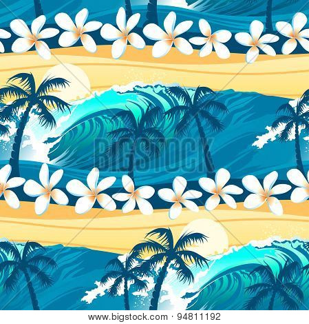 Tropical Surfing With Palm Trees Seamless Pattern