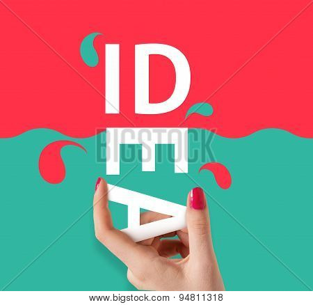 Woman hand holding the word idea on red abd sea-blue background