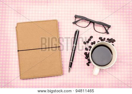 Blank Note Book With Coffee