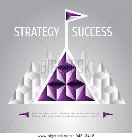 design vector illustration of success and strategy. High mountain, flag on the mountain peak, winnin
