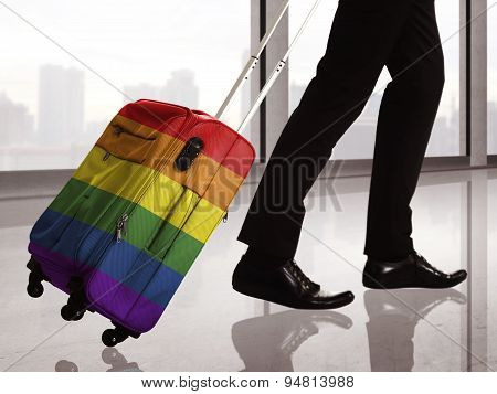 Suitcase With Lgbt Flag Pattern