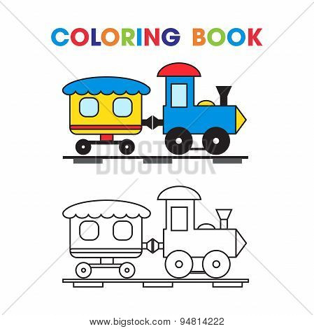 coloring book the train with a wagon for the kids.