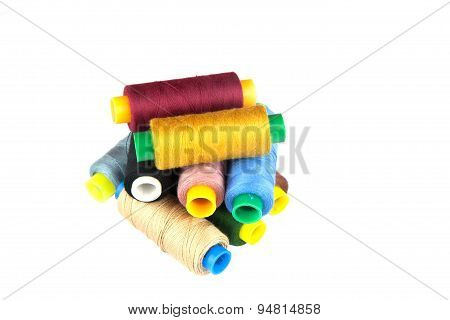 Coloured Thread Isolated On White Background.