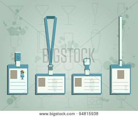 Brand identity elements - Lanyard, name tag holder and badge templates. Summer cocktail party with b