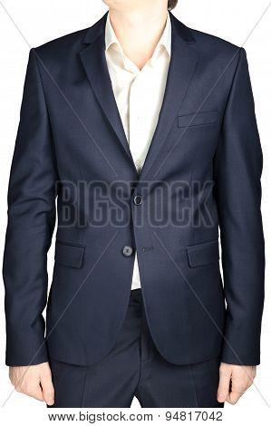 Dark Blue Classic Formal Jacket For Men, Isolated Over White