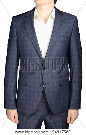 Gray Checkered Blazer Men Wedding Gown Groom, Isolated Over White.