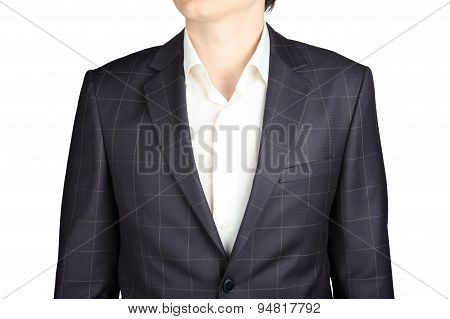 Closeup Gray Checkered  Suit Coat For Men, Isolated Over White.