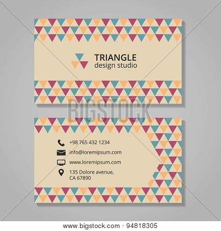 Business card with triangular background