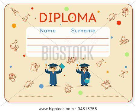 Vector school kids diploma certificate