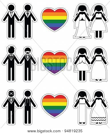 PrintLesbian brides and gay grooms icon 3 set with rainbow element