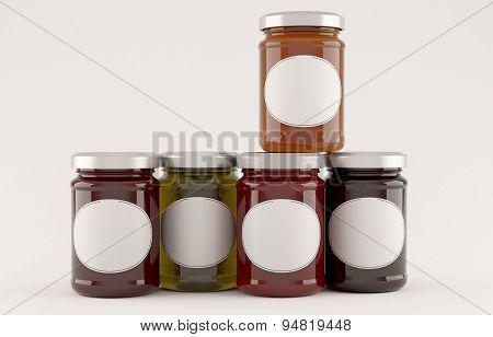 jars of jam over white background