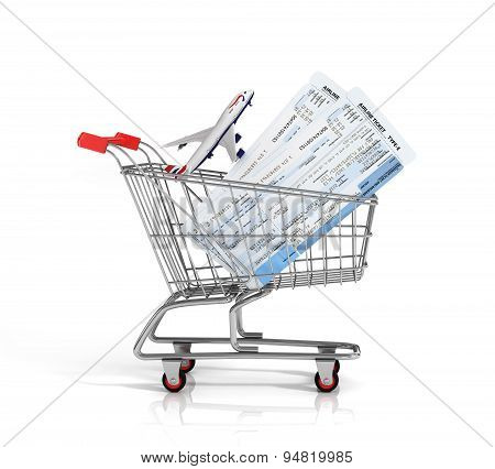 Air Tickets And Plane In The Shopping Cart On The White Background. Online Order Concept.