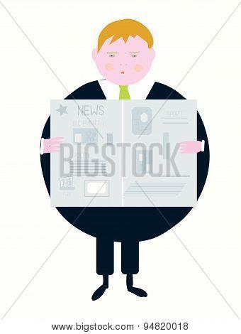 Newspaper And Businessman Cartoon
