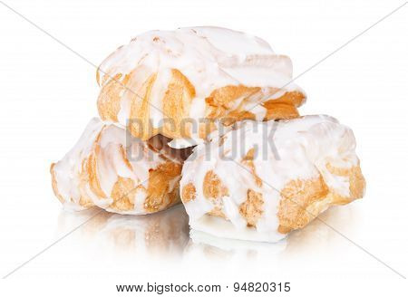 Slice Piece Of Vanilla Cake Topping With White Chocolate Chips For Coffee Or Tea Break, An Image Iso