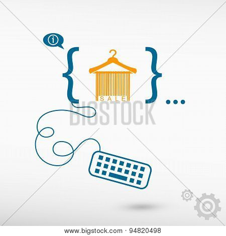 Sale Barcode Clothes Hanger And Flat Design Elements