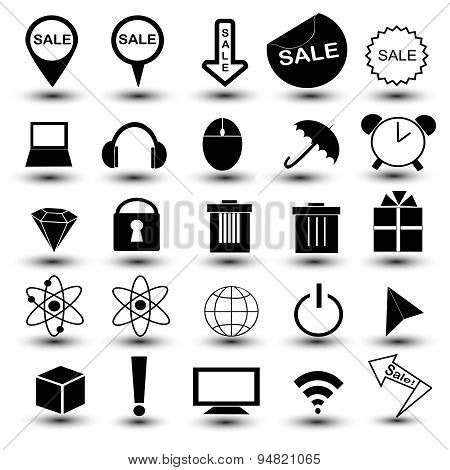 Vector Black Universal Web Icons Set