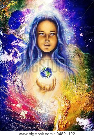 Mystic Woman And Earth Collage. Hands Holding Planet Earth. Woman Illustration
