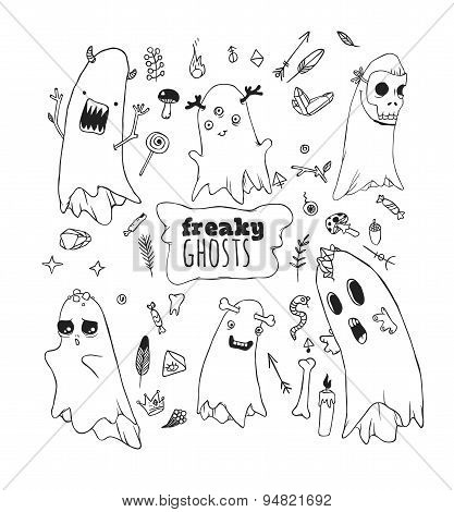 Set of funny ghosts.