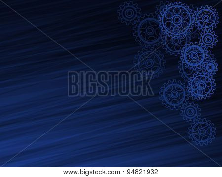 Abstract dark blue background with the gears. Vector illustration
