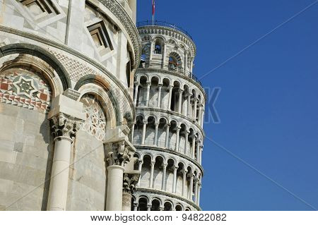 The Pisa Tower Is Hidden Behind The Baptisterium, Pisa, Italy