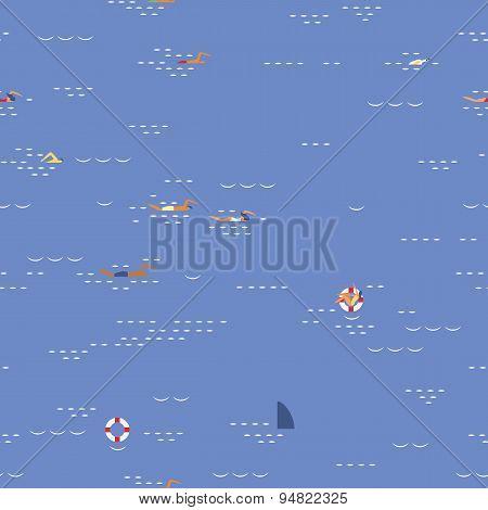 Swimming Seascape Seamless Pattern
